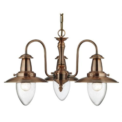 Fisherman - 3 Light Ceiling, Copper With Seeded Glass Shades 5333-3Cu